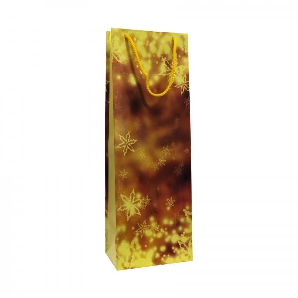 Punga cadou de hartie pentru sticla cu model iarna - stelute aurii 0