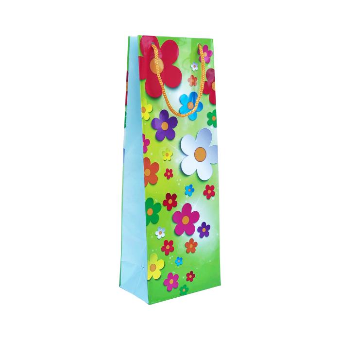Punga cadou de hartie pentru sticla cu model vara - Flori pe fundal verde 0