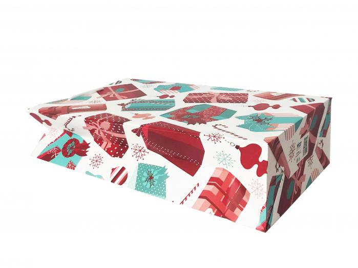 Punga de cadou mare cu model cadouri de Craciun 2