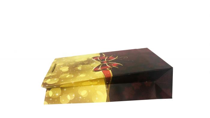 Punga de cadou mare cu model cu funda de Craciun [3]