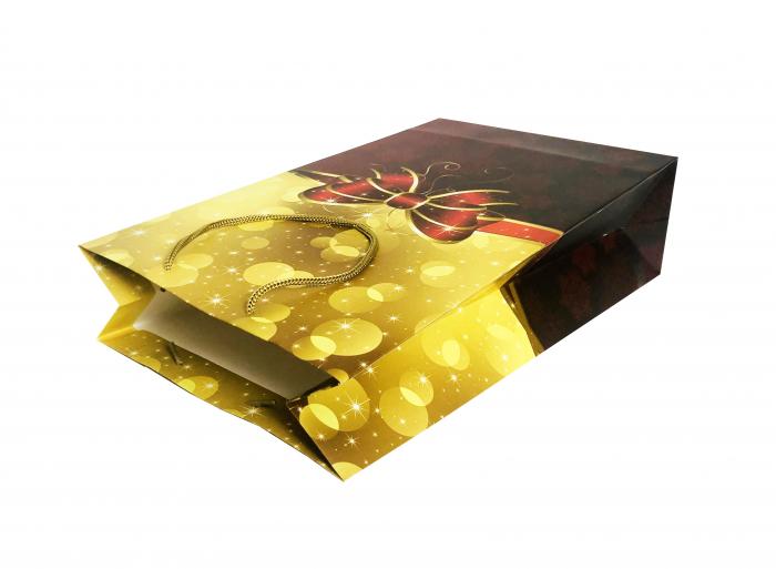 Punga de cadou mare cu model cu funda de Craciun [2]