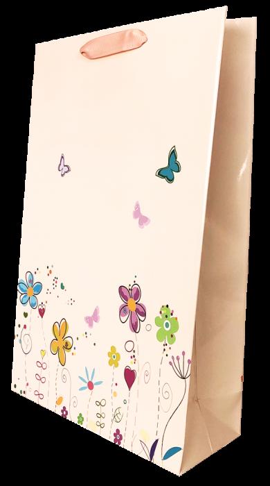 Punga cadou de hartie mare cu model vara - floricele [1]