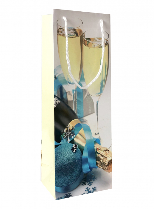 Punga de cadou din hartie pentru sticla cu model festiv cu pahare 1