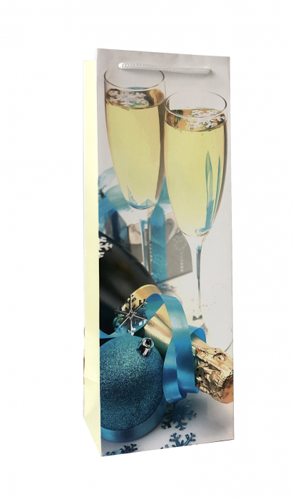Punga de cadou din hartie pentru sticla cu model festiv cu pahare 3