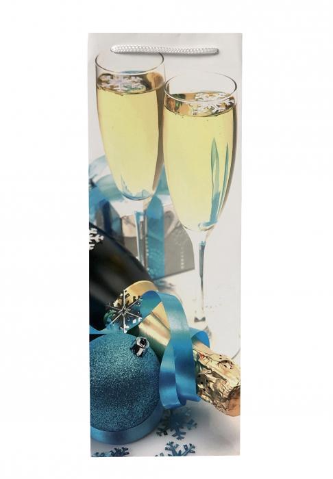 Punga de cadou din hartie pentru sticla cu model festiv cu pahare 2