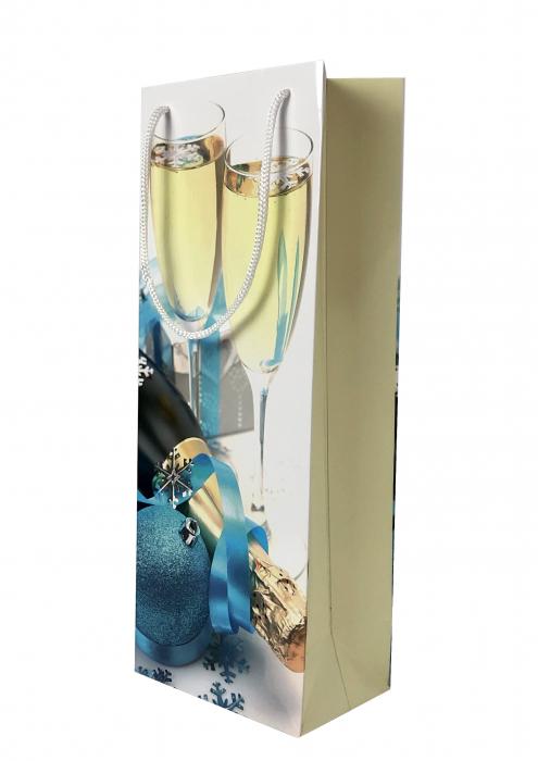 Punga de cadou din hartie pentru sticla cu model festiv cu pahare 0