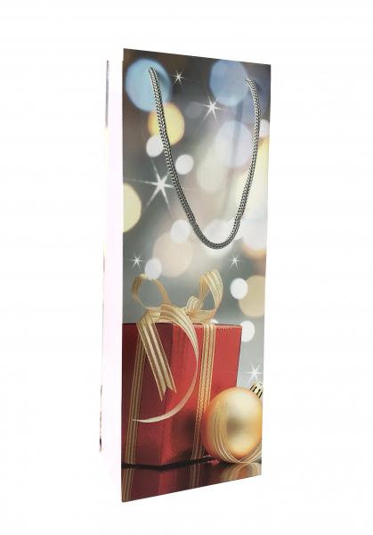 Punga de cadou din hartie pentru sticla cu model de Craciun 0