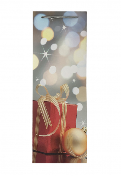Punga de cadou din hartie pentru sticla cu model de Craciun 3