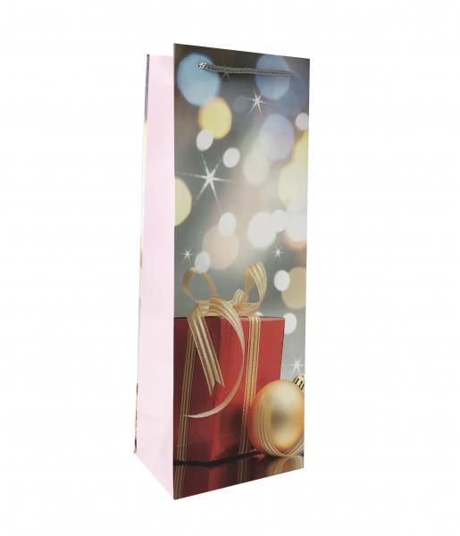 Punga de cadou din hartie pentru sticla cu model de Craciun 2