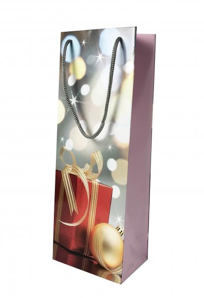 Punga de cadou din hartie pentru sticla cu model de Craciun 1