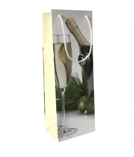 Punga de cadou din hartie pentru sticla cu model festiv de Craciun [0]