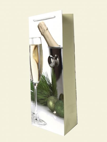 Punga de cadou din hartie pentru sticla cu model festiv de Craciun [1]
