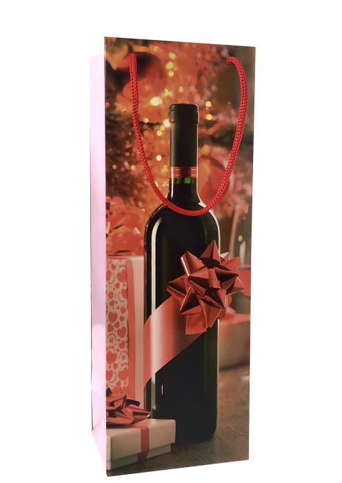 Punga de cadou din hartie pentru sticla cu model cadouri de Craciun 1