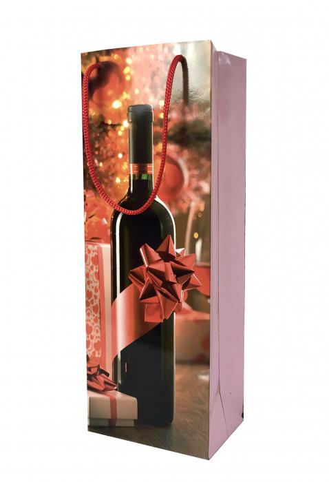 Punga de cadou din hartie pentru sticla cu model cadouri de Craciun 0