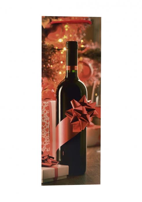 Punga de cadou din hartie pentru sticla cu model cadouri de Craciun 2