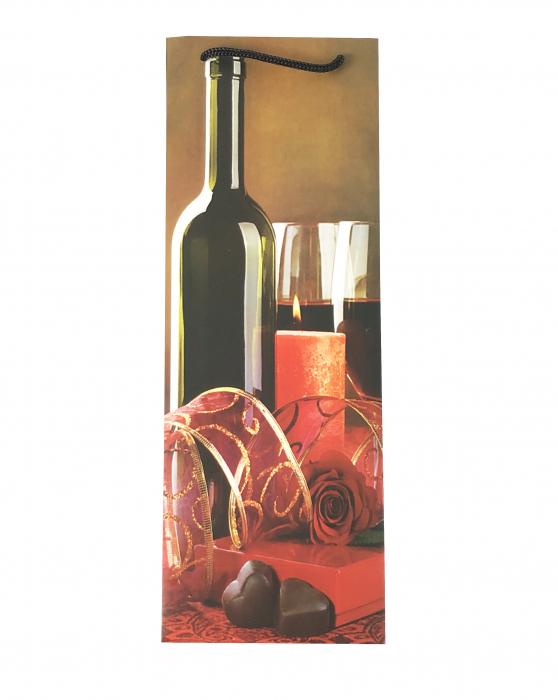 Punga de cadou din hartie pentru sticla cu model lumanari si ciocolata 2