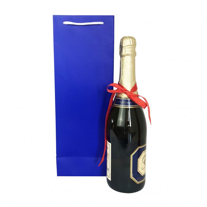 Punga de cadou din hartie pentru sticla albastru mat [4]