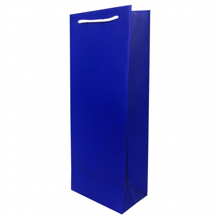 Punga de cadou din hartie pentru sticla albastru mat [0]