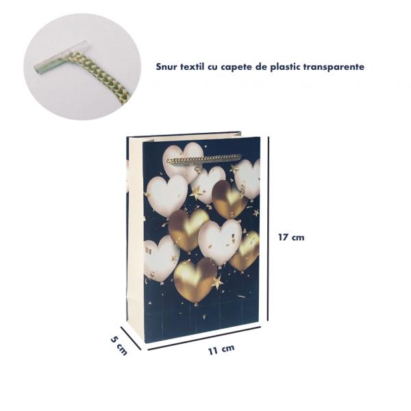 Punga de cadou mica, model elegant cu inimioare [3]
