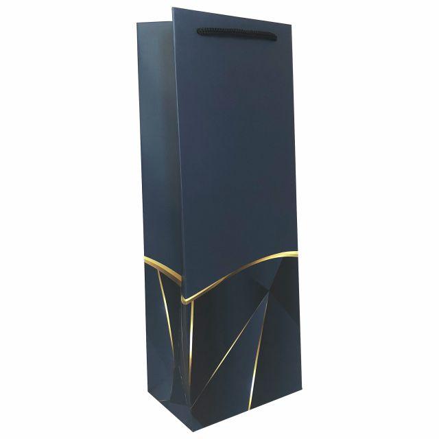 Punga de cadou pentru sticla model elegant bleumarin [2]