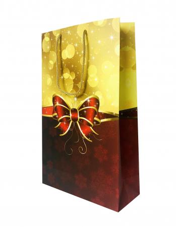 Punga de cadou mare cu model cu funda de Craciun [7]