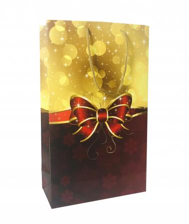 Punga de cadou mare cu model cu funda de Craciun [6]