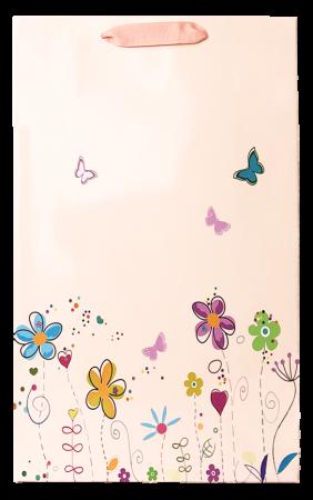 Punga cadou de hartie mare cu model vara - floricele [2]