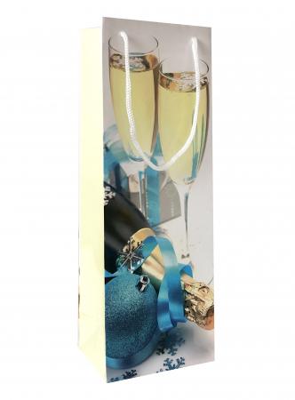 Punga de cadou din hartie pentru sticla cu model festiv cu pahare [1]