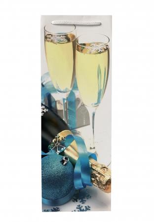 Punga de cadou din hartie pentru sticla cu model festiv cu pahare [2]