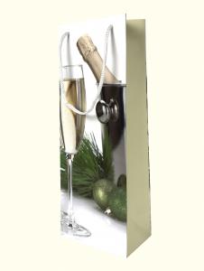 Punga de cadou din hartie pentru sticla cu model festiv de Craciun [3]
