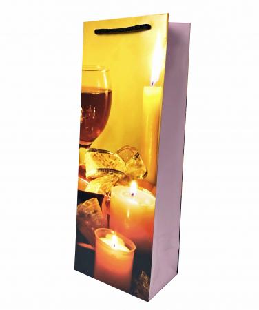 Punga de Cadou pentru Sticla cu model cu lumanari de Craciun1