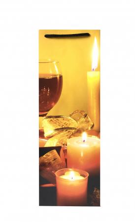 Punga de Cadou pentru Sticla cu model cu lumanari de Craciun2