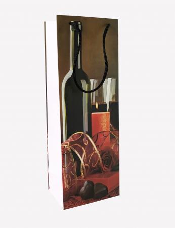 Punga de Cadou pentru Sticla cu model cu lumanari si ciocolata3