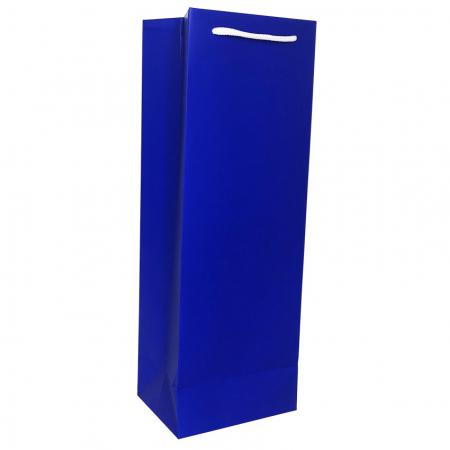Punga de cadou din hartie pentru sticla albastru mat [1]