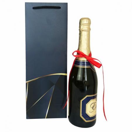 Punga de cadou pentru sticla model elegant bleumarin [4]