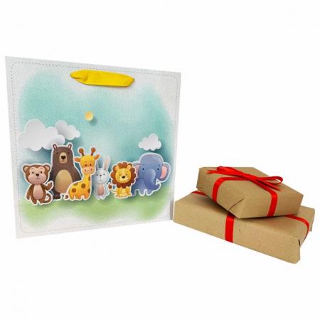 Set 5 pungi de cadou cu model pentru copii, 24x24x10 cm4