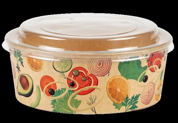 Bol supă carton design + capac - 460ml 0