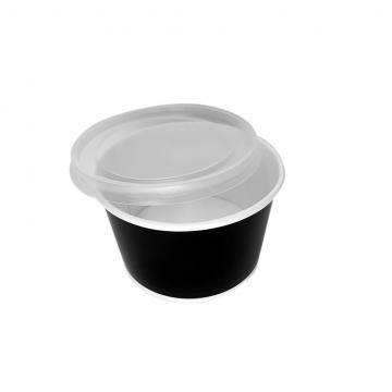 Bol supă carton negru + capac - 460ml0