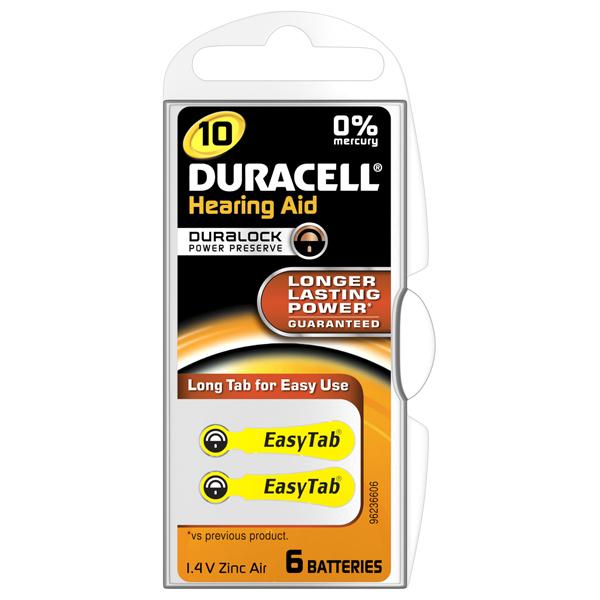 Baterie pentru aparat auditiv DA10,Duracell, 6buc 0
