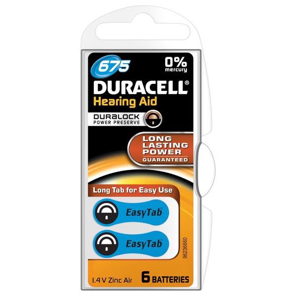 Baterie, pentru aparat auditiv DA675,Duracell, 6buc 0