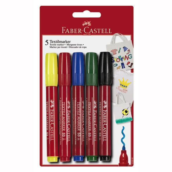 Marker pentru textile, Faber-Castell - 5 culori 0