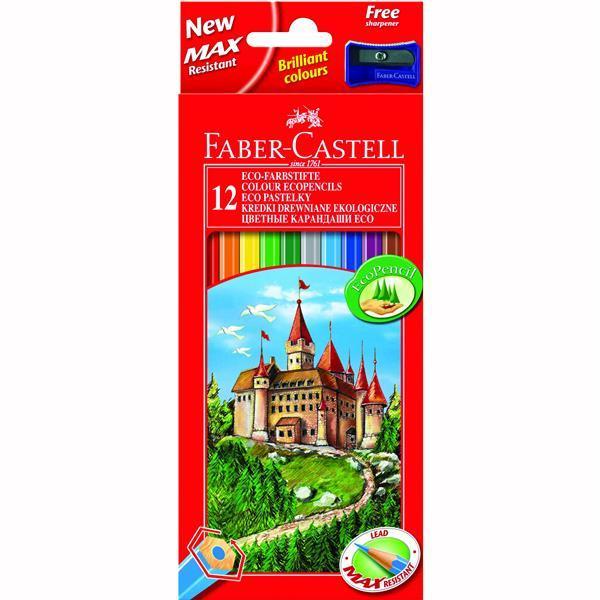Creioane Colorate Eco Faber-Castell - 48 culori / cutie carton + ascutitoare 0