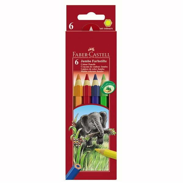 Creioane Colorate Jumbo Faber-Castell - 6 culori 0
