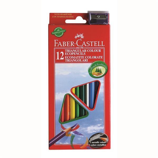 Creioane Colorate Triunghiulare cu Ascutitoare Eco Faber-Castell - 24 culori/set 0