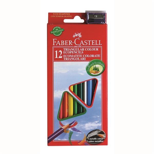 Creioane Colorate Triunghiulare cu Ascutitoare Eco Faber-Castell - 24 culori/set 1