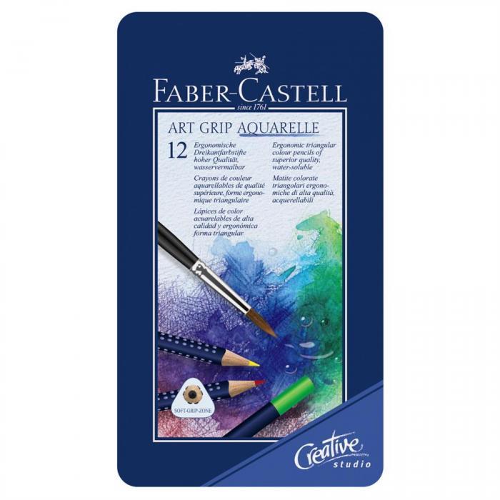 Creioane Colorate Aquarelle Art Grip 12 Culori Cutie Metal Faber-Castell  0