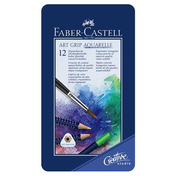 Creioane Colorate Aquarelle Art Grip 12 Culori Cutie Metal Faber-Castell  1