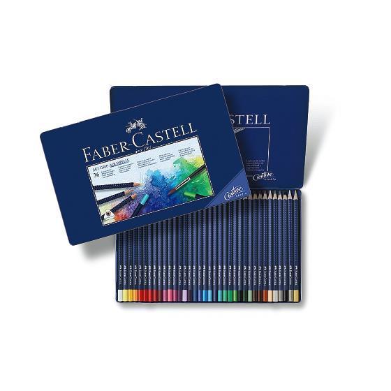 Creioane Colorate Aquarelle Art Grip 36 Culori Cutie Metal Faber-Castell  0