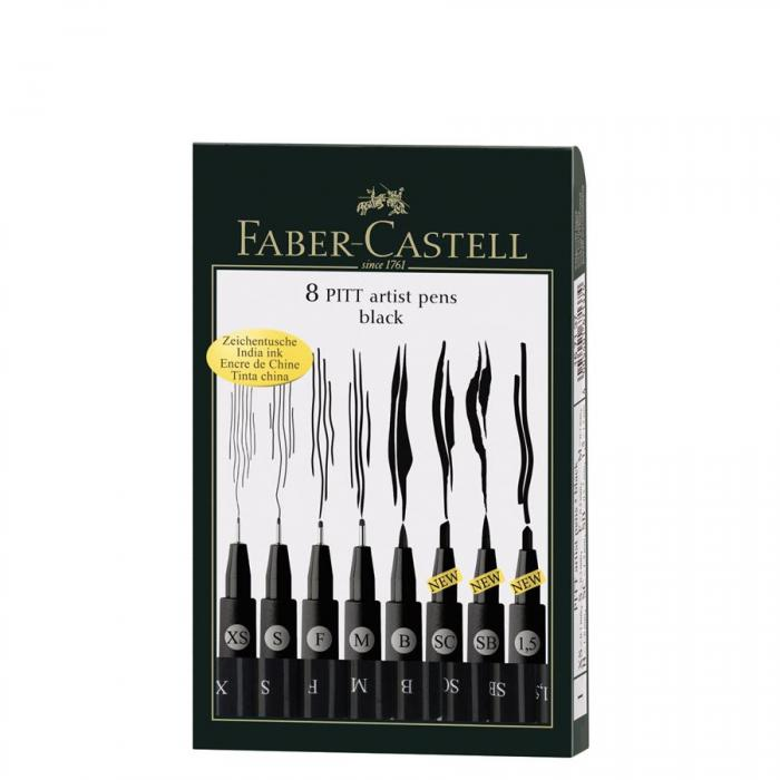 Pitt Artist Pen Set 8 Buc Negru Faber-Castell 0