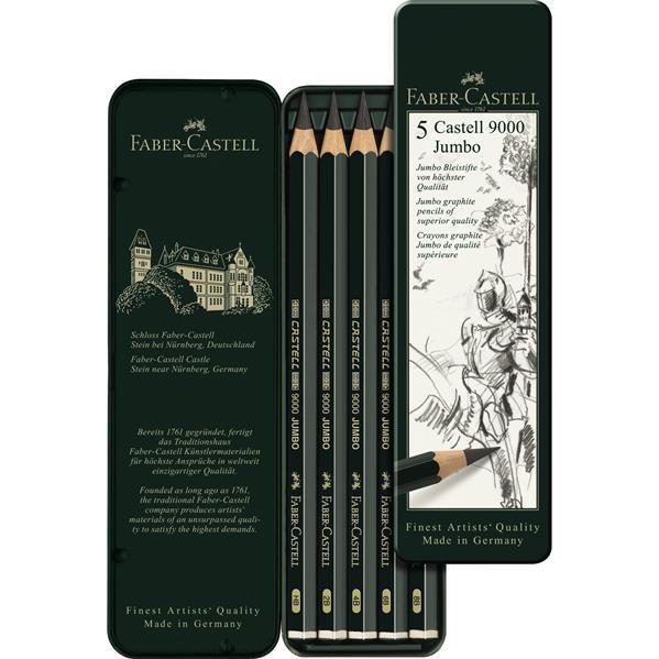 Set 5 Buc Creion Grafit Castell 9000 Jumbo Faber-Castell 0
